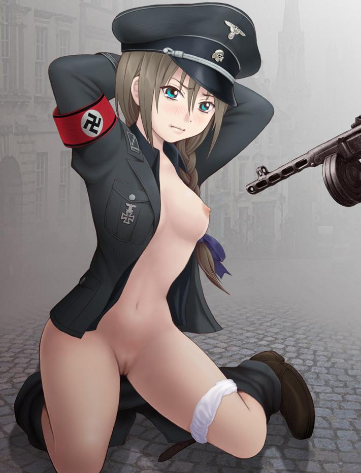 Nazi girl player surrenders in 1vs1 wild PvP duel against Steve.